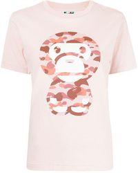 A Bathing Ape カモフラージュ ロゴ Tシャツ - ピンク