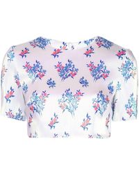 Area Cropped Floral Print T-shirt - White