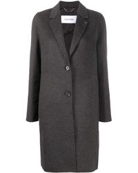 Calvin Klein Однобортное Пальто С Логотипом - Серый
