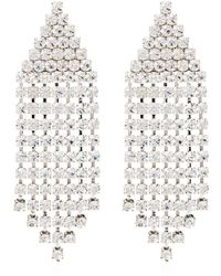 Alessandra Rich Silver Tone Triangle Cascade Crystal Earrings - Metallic