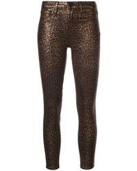 L'Agence - Leopard Print Skinny Trousers - Lyst