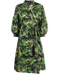 Cynthia Rowley Abito midi a fiori - Verde