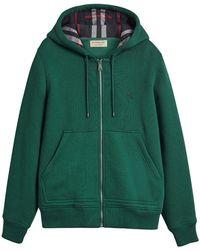 Burberry | Check Detail Hooded Sweatshirt | Lyst
