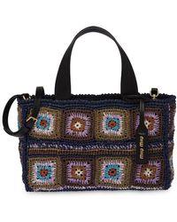 Miu Miu Crocheted Tote Bag - Blue