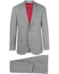 Brunello Cucinelli チェック ツーピーススーツ - グレー