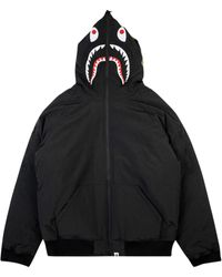 A Bathing Ape Shark Hooded Down Jacket - Black