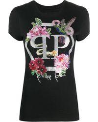 Philipp Plein デコラティブロゴ Tシャツ - ブラック