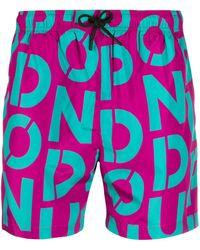 Dondup Logo Print Swim Shorts - Pink