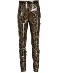 Versace High-waisted Snakeskin-effect Trousers - Brown