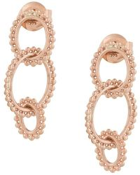 Natalie Marie 9kt Rose Dotted Oval Drop Earrings - Pink