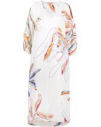 Gentry Portofino Floral-print Maxi Shift Dress - White