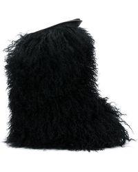 Saint Laurent - Curly Furry Boots - Lyst