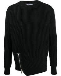 Les Hommes サイドジップ セーター - ブラック