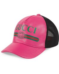 Gucci Print Leather Baseball Hat - Roze