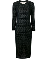 Fendi Inlaid Ff Motif Dress - Black
