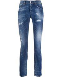 Dondup Jeans Met Verfspetters - Blauw