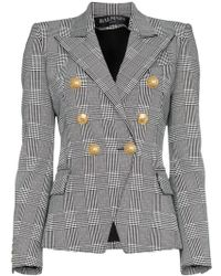 Balmain - Prince Of Wales Tweed Cotton Blend Blazer - Lyst