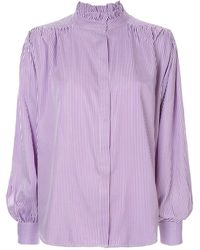 Bambah Pleated Detail Pinstripe Blouse - Purple