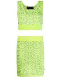 Philipp Plein Комплект Из Топа И Юбки С Логотипом - Зеленый
