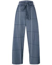 Erika Cavallini Semi Couture - Plaid Wide-legged Cropped Trousers - Lyst