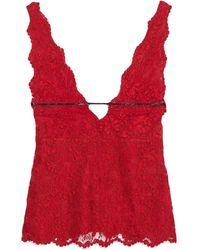 Gucci Top aus floraler Spitze - Rot