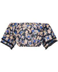 A Peace Treaty - Yuna Print Silk Linen-blend Cropped Top - Lyst