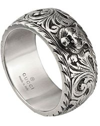 Gucci Thin Silver Ring With Feline Head - Metallic