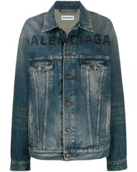 Balenciaga Джинсовая Куртка С Вышитым Логотипом - Синий