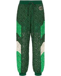 Gucci Embroidered Lace Track Trousers - Green