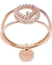 Fendi - Кольцо С Кристаллами И Подвеской - Lyst