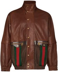 Gucci Web Striped Leather Jacket - Brown