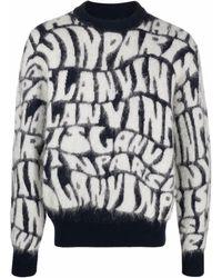 Lanvin モノグラム セーター - ブルー