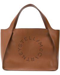 Stella McCartney Bolso shopper Stella con logo - Marrón