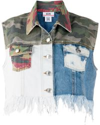 Gcds Patchwork Cropped Vest - Blue