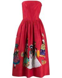 Stella Jean Vestido palabra de honor con detalles - Rojo