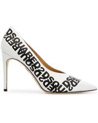 DSquared² Mirrored-logo Stiletto Pumps - White