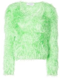 Marine Serre Fire Fluffy Knitted Sweater - Green