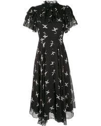 Macgraw Flight Printed Chiffon Midi Dress - Black