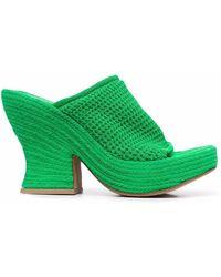 Bottega Veneta Плетеные Мюли Wedge - Зеленый