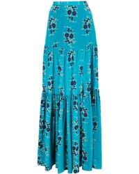 Veronica Beard Floral Maxi Skirt - Blue