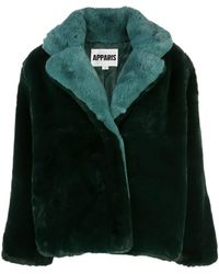 Apparis 'Kendall' Mantel mit Faux Fur - Grün