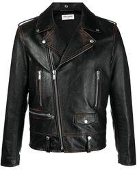 Saint Laurent Байкерская Куртка - Коричневый