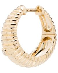 Yvonne Léon 18kt Yellow Gold Ridged Diamond Hoop Earring - Metallic