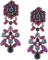 Marchesa Poppy Leaf Drop Earrings - Red