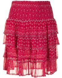 Mes Demoiselles フローラル ラッフルスカート - ピンク