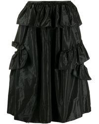 Simone Rocha ラッフル サテンスカート - ブラック