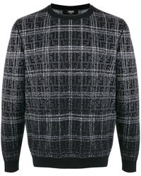 Fendi Ff ジャカード チェック セーター - ブラック