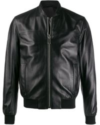 Les Hommes - Leather Bomber Jacket - Lyst