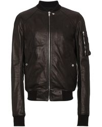 028bab16d Raglan Leather Bomber Jacket - Black