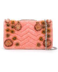Isla Velvet Quilted Embroidered Shoulder Bag - Многоцветный